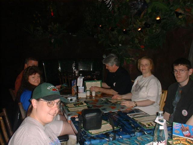 MGM Rain Forest Cafe. Catrice, Micro Mary, Hubby Ed, Marty, WrydLady, Idiot Boy.